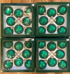 Four Vtg Boxes Of 8 Emerald Green Glass Ornaments Christmas By Krebs Total 32