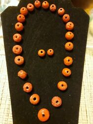 Antique Chinese Coral Tomato Red, Barrel Beads 25 Lot For A Necklace And Earings