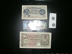 Rare Wwii Nazi Germany 2 Coins 1942-1943 And 2 Notes 1939, 5 Stamps,  G5411