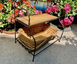 Longaberger Wrought Iron Small Bakers Rack With Shelf And Small Gathering Badjet