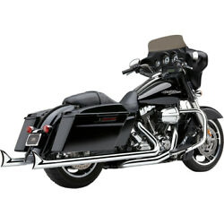 Harley Cobra Usa Speedster Dual Fishtail Exhaust System 17-20 Touring Chrome