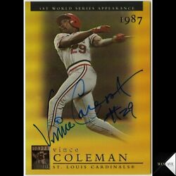 2003 Topps Tribute Vince Coleman Auto Signed Ip Gold Refractor /100 Cardinals
