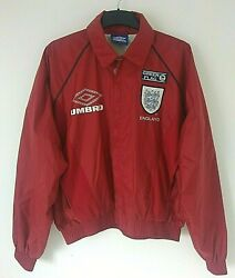 Umbro England Football Team Green Flag Vintage 1990s Red Jacket Uk Small Exc Con