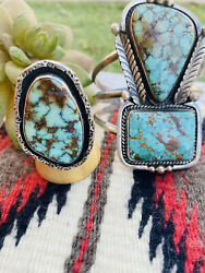 Vintage Navajo Turquoise And Sterling Silver Bracelet And Ring Set Signed