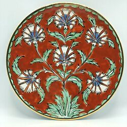 Ikaros Rhodes Pottery Greece Plate 26cm Gold Trim Hand Painted Marked 10.2