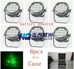 6pcs Ip65 Waterproof Battery Powered Led Par Light Rgbwa Uv 6in1 Outdoor 12leds