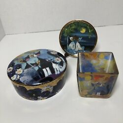 """Goebel Rosina Wachtmeister Cat Lot - 3"""" Plate With Stand, Tea Light Holder, Dish"""
