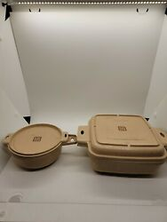 Lot Of 2 Littonware Square/round 1qt, 2c Cookware W/ Lids Microwave 39275 39278