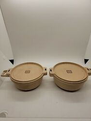 2 Vintage Littonware 2 Cup/0.5 Liter Round Microwave Bowls 39278 And Lids 39277
