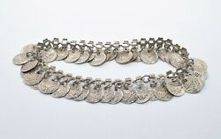 Nomad Victory Prosperity Coin Anklet Silver Tone Vintage Costume Jewelry Tibetan