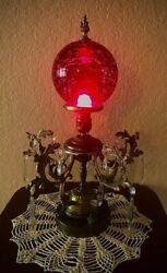 Stunning Antique Brass Art Deco Lamp With Ruby Red Crackle Glass Dome And Crystals