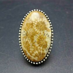 Toney Mitchell Navajo Sterling Silver Petoskey Fossil Coral Ring Size 7.75