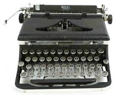 Vintage 1937 Royal Deluxe A-series Typewriter Black And Chrome