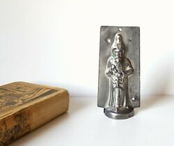 Chocolate Mold Antique Santa Clause With Toy Tin Mould Signed 5.47 Inches