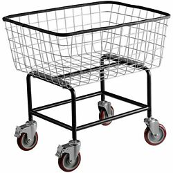2.5 / 4.5 4inch Commercial Wire Laundry Cart Basket For Home Bathroom Laundries