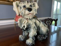 Vintage Italy Spaghetti Terrier Dog Figurine Black White with Red Bow 7quot;