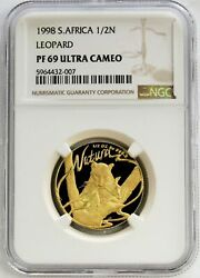 1998 Gold South Africa 1/2 Oz Natura Leopard Proof Coin Ngc Pf 69 Ultra Cameo