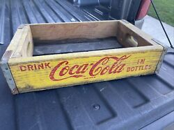 Vintage Coca-cola Coke Wood Crate Carrier 1968 Chattanooga Yellow Red
