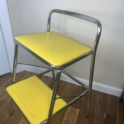 Vintage Cosco Yellow Chrome Folding Step Stool Chair For Kitchen