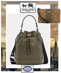 Nwt Coach Dempsey Drawstring Bucket Bag And Wristlet In Surplus Green Leather