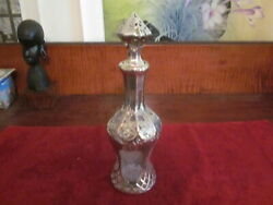 1 Antique Art Nouveau Decanter W/sterling Silver Overlay Sunflowers W/ Stopper