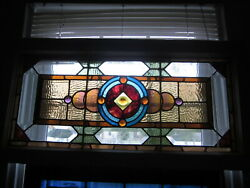 C.1910 Antique Combination Stained Glass Transom, 7 Jewels, Original Frame