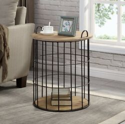 Rustic Round Basket Storage Side Table Wood Top Metal Frame Industrial Farmhouse