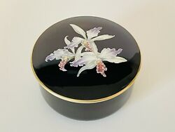 Villeroy And Boch Orchidee Porcelain Lidded Box Black Forest Orchid Trinket Box