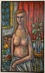 LEWIS J. MILLER 20th c. American MID CENTURY MODERN PAINTING Young Female Nude