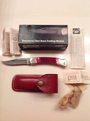 Buck 110 Knife With Red Bone And Damascus Blade And Sheath Mint In Box Rare