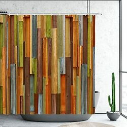 Wooden Shower Curtain Wooden Brown Rustic Farmhouse Colored Wood Plank Rustic...
