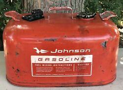 Vintage Johnson Gasoline Red Outboard Motor 6 Gallon Gas Gage Can Boat Fuel Tank