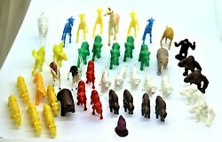 Lot 43 Vintage Small Plastic Animals Jungle Zoo Barnyard Forest Marx And Others