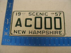 1957 57 New Hampshire Nh License Plate Tag Sample Ac000 Kc