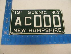 1964 64 New Hampshire Nh License Plate Tag Sample Ac000 Kc