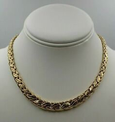 Vintage Graduated Russian Weave 14k Yellow Gold Necklace 16 1/8andrdquo