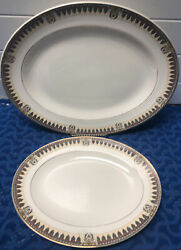 J And G Meakin Sol Amiens England China Platter Oval Serving Trays 1920's 391413