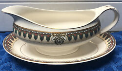 J And G Meakin Sol Amiens England China Gravy Boat And Under Plate 1920's