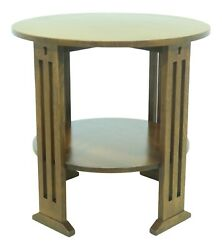 52545ec Stickley Mission Oak Arts And Crafts Round Lamp Table