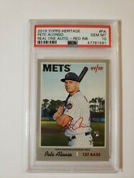 2019 Topps Heritage Pete Alonso Red Ink Autograph Psa 10 44/70 Pop 3