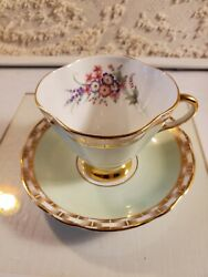 Clarence Bone China Tea Cup And Saucer. Mint Green Floral Pattern Signed Numberd
