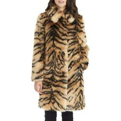 Kendall + Kyle Womenand039s Tiger Print Long Faux Fur Coat With Notch Collar