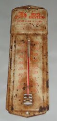 Antique Red Devil's Lighter Fluid And Flints Metal Advertisement Thermometer