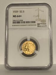 1929 2.50 Indian Gold Quarter Eagle 90 Collectible Coin Ngc Certified Ms64+