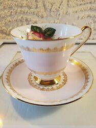 Clarence Bone China England Vintage Cup And Saucer Pink Flowers Signed And Number