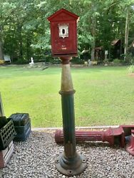 Antique Gamewell Transitional Fire Alarm Box And Pedestal From Moline ,il.