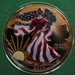 2004 American Silver Eagle Colorized Golden Fields And Full Color Liberty And Eagle.