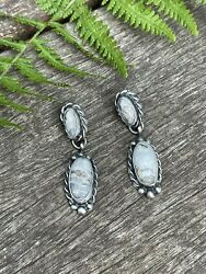 Navajo Sterling Silver And White Buffalo 2 Stone Rope Dangle Earrings