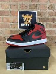 Nike Air Jordan 1 Mid Gym Red Banned Bred 554724 554725 074 Gs And Menand039s Szs