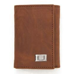 University Of Miami Hurricanes Wallet Trifold Leather Wallet